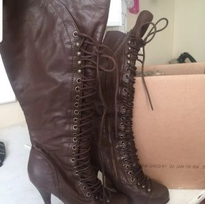 Beyond sexy lace up zip up boots. Bakers leather